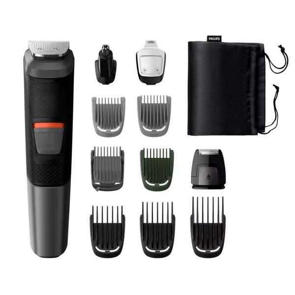 Philips mg5730/15 multigroom series 5000 cortapelo cara, cabello y cuerpo 11 en 1 cuchillas autoafilables de acero incluye funda de viaje